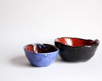 Two red and black bowls turquoise, home decor