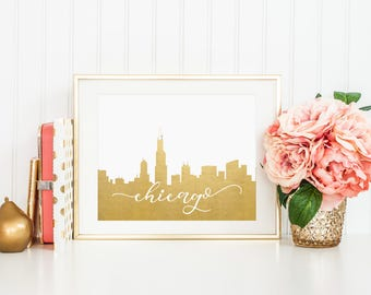 Chicago Illinois // City Silhouettes // Foil Prints // Cityscape Foil Prints // Chicago Foil Prints