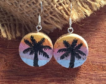 Hand painted Palm Tree and Sunset Cork Earrings