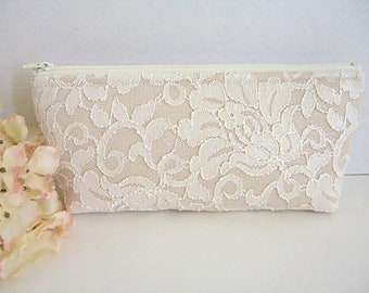 Satin Clutch - Ivory Lace Clutch - Bridesmaid Makeup Bag - Wedding Clutch - Champagne Clutch - Bridesmaid Clutch - Bridal Clutch