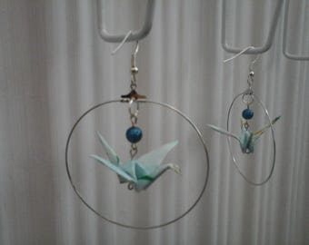 Origami Earrings Light Blue Crane