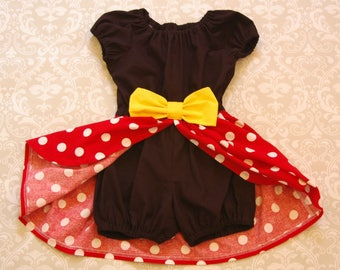 Girls Romper, Toddler Romper, Girls Dress, Toddler Dress - Minnie Mouse Inspired