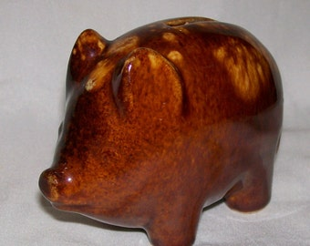 Small Vintage Rockingham Glazed Yellow Ware Pottery Pig Bank Antique American Yellowware Pottery Still Bank
