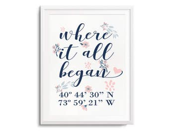Where It All Began Floral Print with GPS Coordinates, Personalized Anniversary Gifts for Husband Gifts, Gifts for Her