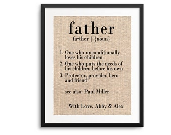 Personalized Gift for Dad | Father's Day Gift from Kids | Definition of Father | Gift for Dad