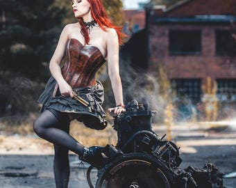 Steampunk, elegant, victorian set: Silver frilled, asymmetric skirt and Grey leather overbust corset with belt