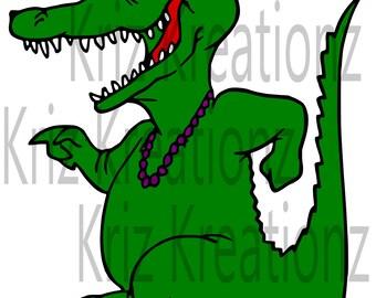 Mardi Gras Gator SVG Cut File