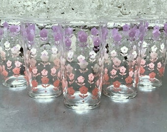 Vintage Flowers Drinking Glass/Juice Glass/Set of Five 8 oz Glasses/Pastel Purple & Pink Flowers/Girl Power/Breakfast Club/Water Glass