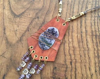 Amethyst & Rock Crystal Fringe Leather Necklace