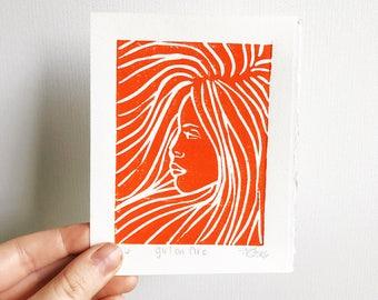 Girl on Fire Mini Linocut Fine Art Print