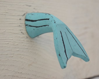 Whale Fin/Tail/Fluke Drawer Knobs in Teal, Drawer Knobs, Drawer Pulls, Nautical, Ocean, Whale, Fish Decor, Nursery Decor, Whale Drawer Knobs