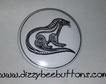 "Tribal Otter - 1.25"" or 1.5"" - Pinback Button - Magnet - Keychain"