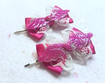 Kawaii Fairy Kei Lolita Pink Hair Clips Pair