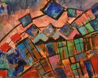 EaglesView Abstract Art: Beeswax, dry pigments oil painting on a gallery style wooden panel ready for display