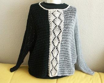 Net sweater black / white / gray