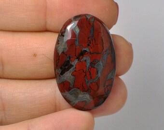 100 % Natural REd rainbow Jasper Oval Cabochon 33x21x6 mm. 36.80 Cts.