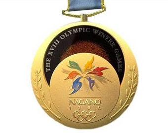 Nagano 1998 Olympic 'Gold' Medal with the Ribbons & Display Stand !!!