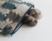 Alpine trees medium zippered bag - craft project bag    knitting project bag    cosmetics bag    multipurpose storage bag