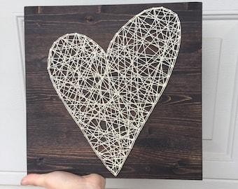 "String art asymmetrical heart- made to order- 12"" x 12"""
