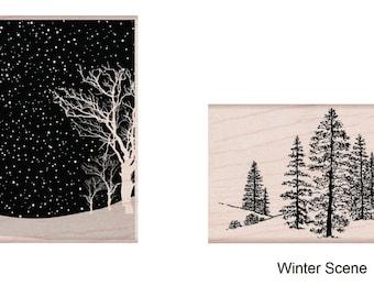 "Hero Arts Mounted Rubber Stamp - Winter Scene (2.25""X3.25""), Winter Scene (5""X2.25"")"