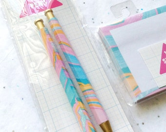 Marble Pens and Sticky Notes Set • Target Dollar Spot • Target One Spot • Planner Pens • Post it • sticky Notes