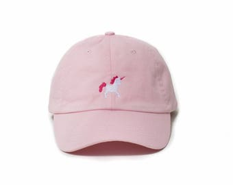 Unicorn Hat, Unicorn Dad Hat, Unicorn Baseball Cap, Embroidered Baseball Cap, Adjustable Strap Back Baseball Cap, Low Profile, Pink
