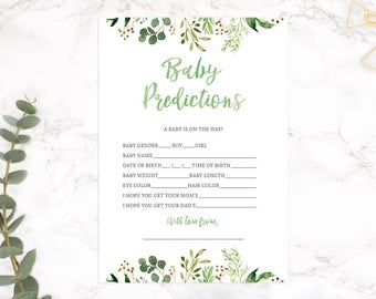 Baby Prediction Card, Green Baby Shower Game, Baby Predictions, Floral Baby Shower, Rustic Baby Shower, GRNBS - INSTANT DOWNLOAD