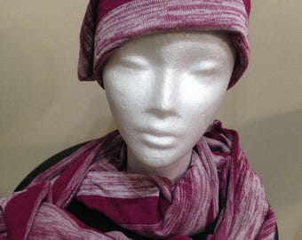 Magenta and White Knit Loop Scarf
