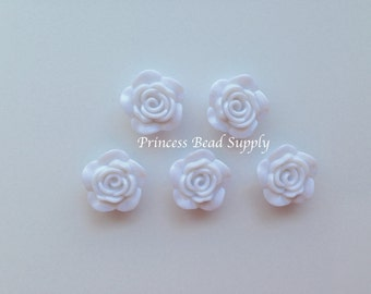 White Resin Rose Flower Beads, NEW Style! 20mm Rose Beads, 20mm Flower Beads, Mini Flower Beads, Chunky Beads, Acrylic Beads