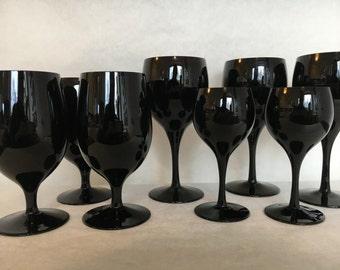 Black Amethyst Stemmed Glasses Wine, Water and Cordial Set of 9