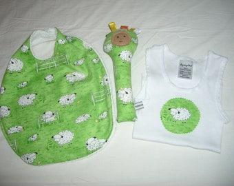 3 peice baby gift set, newborn gift, baby shower gift, rattle bib and singlet set