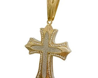 """Exo Jewel Iced Out Stainless Steel Cross Pendant Necklace with 24"""" Chain"""