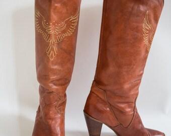 "Vintage 1970's Tan ""Dingo Firebird"" Boots, Size-6"