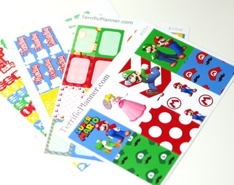 Mario Bros Planner Sticker Kit and Washi Removable Matte  or Glossy Stickers #108