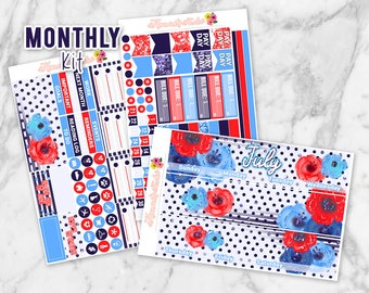 July Freedom Monthly Overview Planner Sticker kit for Erin Condren Life Planners