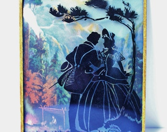 Vintage Retro 50s Silhouette Glass Courting Scene Colonial Couple Picture Wall Hanging A1