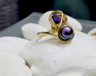 SALE! Black Pearl ring,gold filled ring, real pearl ring,stackable ring, wedding ring, drop amethyst ring,bridal jewelry, big pearl