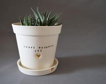 Ceramic Mothers Day Planter Pot with Gold Heart - Matte Finish, Love, Grandma, Mothers Day ( Handmade, Porcelain, Mothers Day, Mom, Love)
