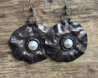 Copper earrings pearl earrings long earrings boho earrings boho jewelry rustic jewelry copper jewelry rustic earrings freshwater earrings