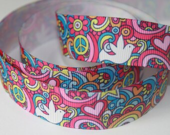 "7/8"" inch Rainbows, Flowers and Peace Signs -  Printed Grosgrain Ribbon for Hair Bow TheFabFind"