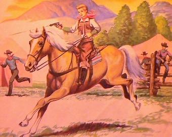 1956 Annie Oakley Matted Vintage Print Western Cowgirl