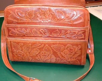 70's Hand tooled leather purse - rose design