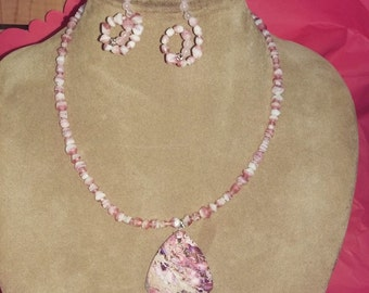 Handmade Pink Agate & Agate Beaded Necklace with Earrings