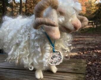 Angora Goat, Needle Felted