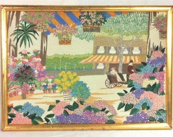 Framed Crewel Embroidery Picture Fiber Art 19 x 14