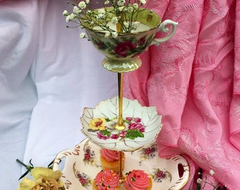 Sale, Pink and Gold, Tiered Tray, 3 Tier Cupcake Stand, Antique Teacup, Marie Antoinette Party, Pink Roses, Brunch, Cupcake Tower, Antique