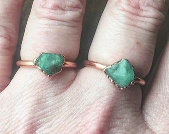 Raw Emerald Ring | May Birthstone Ring | Electroformed Ring | Birthstone Ring | Engagement Ring | Crystal Ring | Stone Ring |