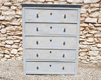 19th C  French e chest of drawers, elm wood with pale blue grey distressed paint patina, 5 drawers,metal handles