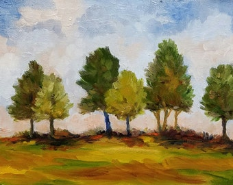 Waiting In Line, oil painting, 6x8 paintng, Trees and Landscape
