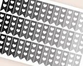 42 neutral half flag stickers heart, horizontal planner stickers, reminder checklist, eclp filofax happy planner kikkik plum paper mambi